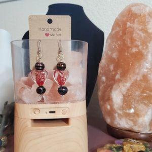 Beautiful handmade glass heart beaded earrings
